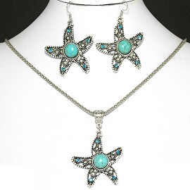 Crystal Necklace Earring Starfish FNE1056