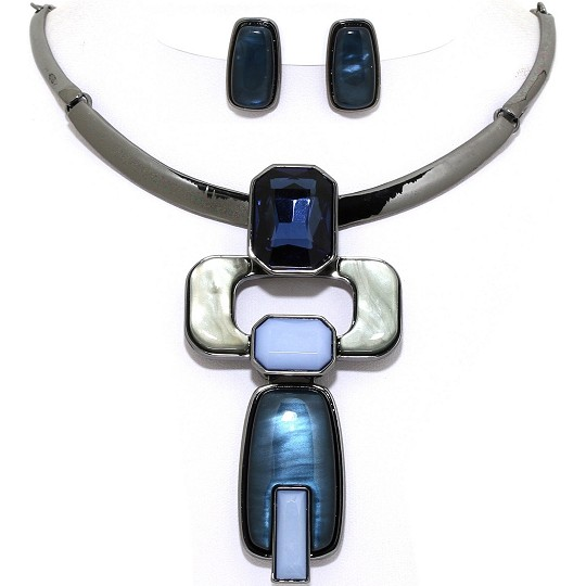 Necklace Earring Set Rectangle Gems Dark Gray Blue FNE1074