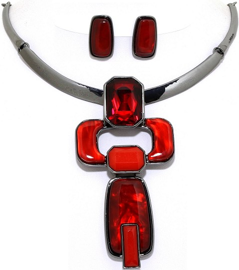 Necklace Earring Set Rectangle Gems Dark Gray Red FNE1077