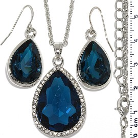 Necklace Earring Set Chain Tear Crystal Gem Silver Dk Tu FNE1106