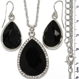 Necklace Earring Set Chain Tear Crystal Gem Silver Black FNE1107