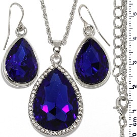 Necklace Earring Set Chain Tear Crystal Gem Silver Blue FNE1111