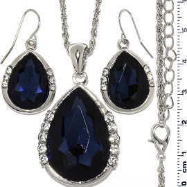 Necklace Earring Set Chain Tear Crystal Gem Silver Dk bl FNE1112