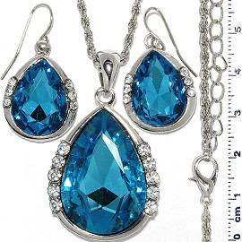 Necklace Earring Set Chain Tear Crystal Gem Silver Turqu FNE1113