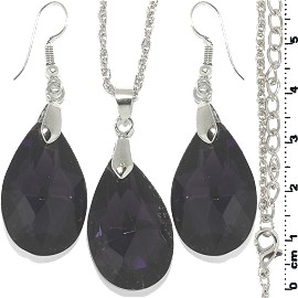 Necklace Earring Set Tear Crystal Silver Dark Purple FNE1114