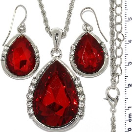Necklace Earring Set Chain Tear Crystal Gem Silver Red FNE1116