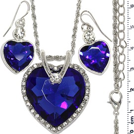 Necklace Earring Set Chain Heart Crystal Gem Silver Blue FNE1118