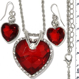 Necklace Earring Set Chain Heart Crystal Gem Silver Red FNE1119