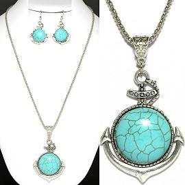 Thin Necklace Earring Set anchor Turquoise Silver FNE1121