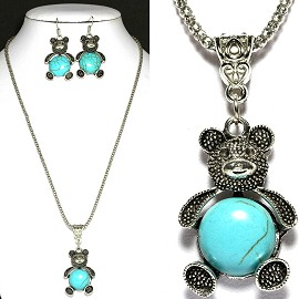 Thin Necklace Earring Set Teddy Bear Turquoise Silver FNE1122