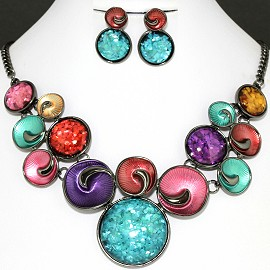 Necklace Earring Set Multi Color Circle FNE1125