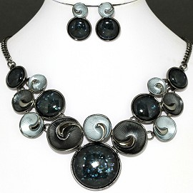 Necklace Earring Set Gray Black Color Circle FNE1126