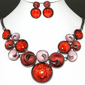 Necklace Earring Set Pink Orange Red Color Circle FNE1127