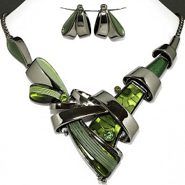 Necklace Earring Set Forest Green Line Green Rhinestone FNE1130
