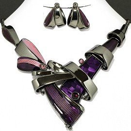Necklace Earring Set Purple Line Purple Rhinestone FNE1131