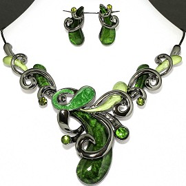 Necklace Earring Set Green Cashew Nuts Style FNE1133
