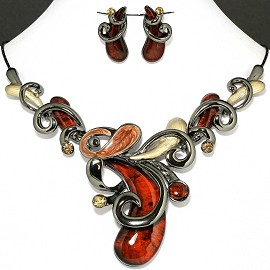 Necklace Earring Set Dark Orange Brown Cashew Nuts Style FNE1135