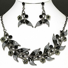 Necklace Earring Set Black Gray Leaf FNE1139