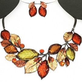 Necklace Earring Set Brown Mix Leaf Orange Rhinestone FNE1142