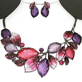 Necklace Earring Set Purple Hot Pink Leaf Rhinestone FNE1143