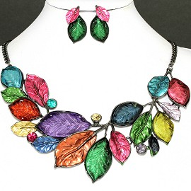 Necklace Earring Set Multi Leaf Rhinestone FNE1145