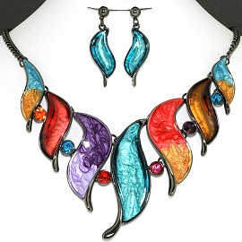 Necklace Earring Set Multi Leaf Rhinestone FNE1147