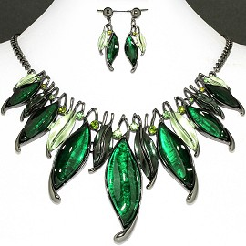 Necklace Earring Set Green Leaf Rhinestone FNE1153