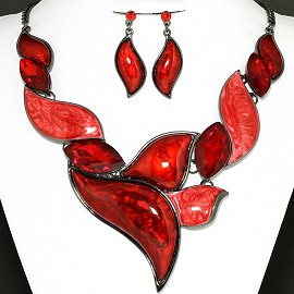 Necklace Earring Set Dark Red Crystal Leaf FNE1165