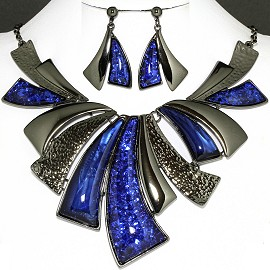 Necklace Earring Set Navy Blue Horn Shape FNE1167