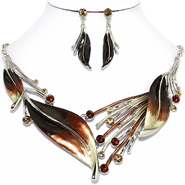 Necklace Earring Brown Leaf Set FNE1170