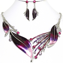 Necklace Earring Purple Leaf Set FNE1172