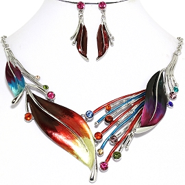 Necklace Earring Multi Color Leaf Set FNE1174