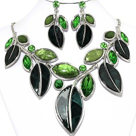 "20""Necklace Earring Set Green Leaf Rhinestone Fne1175"