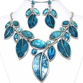"20""Necklace Earring Set Turquoise Blue Leaf Rhinestone Fne1176"