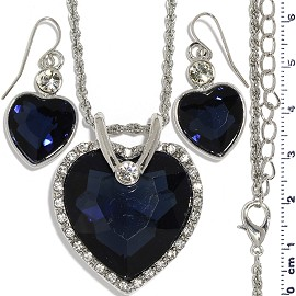 Necklace Earring Set Chain Heart Crystal Gem Silver Dk B FNE1179