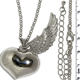 "40"" Chain Silver Angel Wing Heart Chime Sound Necklace FNE1193"
