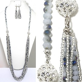 Bead Crystal Necklace Earring Rhinestone Silver Gray FNE1196