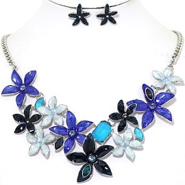 Necklace Earring Set Flower Star Blue Turquoise FNE1203