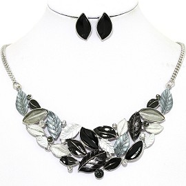 Necklace Earring Set Leaf Leaves Gray Black FNE1209