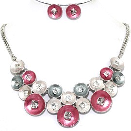 Necklace Earring Set Circle Crystal Cube Pink Gray FNE1224