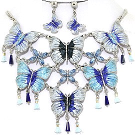 Necklace Earring Set Butterfly Blue Turquoise FNE1228