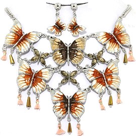 Necklace Earring Set Butterfly Orange FNE1230