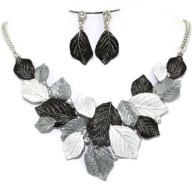 Necklace Earring Set Leaf Leaves Gray Black FNE1234