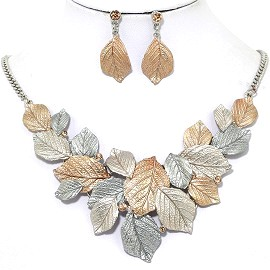 Necklace Earring Set Leaf Leaves Gold Silver FNE1235