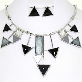 Necklace Earring Set Triangles Silver Black FNE1239