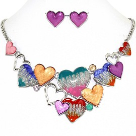 Necklace Earring Set Bunch Hearts Multi Color Purple FNE1241