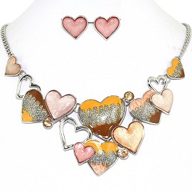 Necklace Earring Set Bunch Hearts Multi Color Pink FNE1242