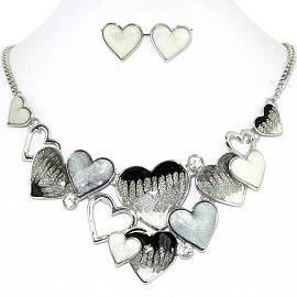 Necklace Earring Set Bunch Hearts Multi Color Gray FNE1243