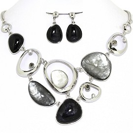 Necklace Earring Set Odd Oval Circles Black Gray FNE1244