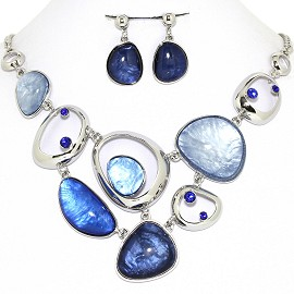 Necklace Earring Set Odd Oval Circles Blue FNE1247